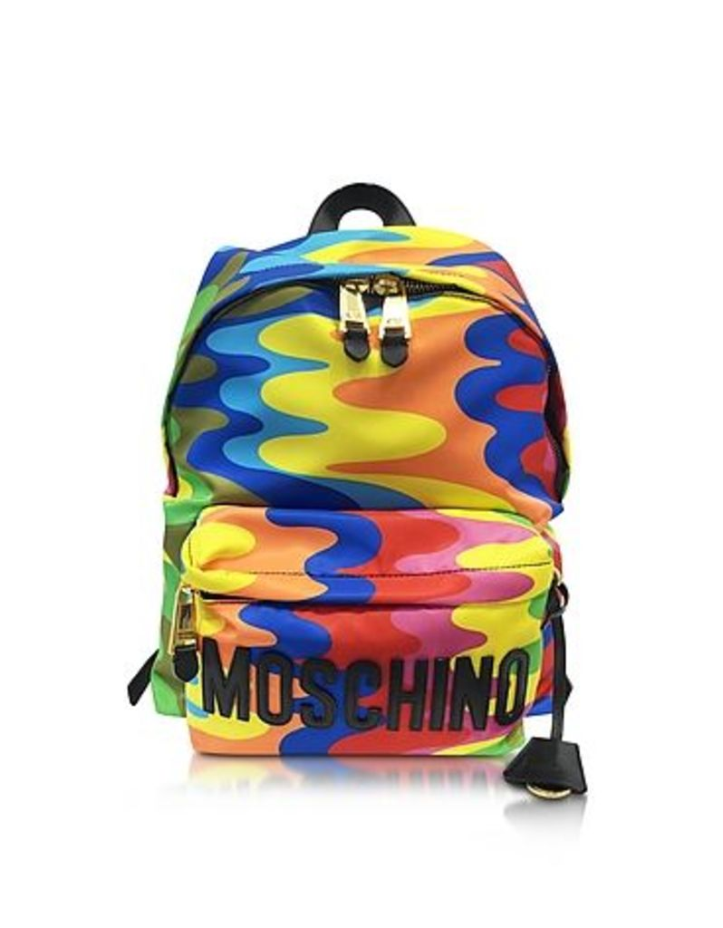 Moschino - Multicolor Print Nylon Backpack w/Logo
