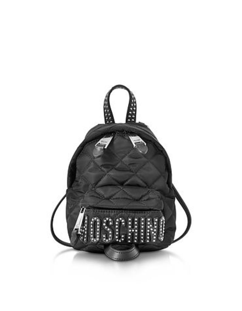 Moschino - Black Quilted Nylon Mini Backpack w/Studs
