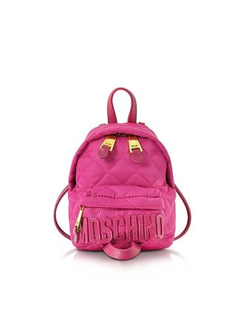 Moschino - Fuchsia Quilted Nylon Mini Backpack w/Logo