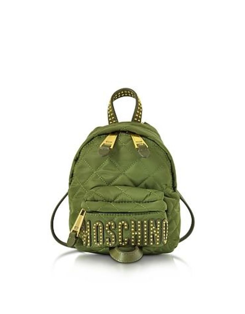 Moschino - Khaki Quilted Nylon Mini Backpack w/Studs