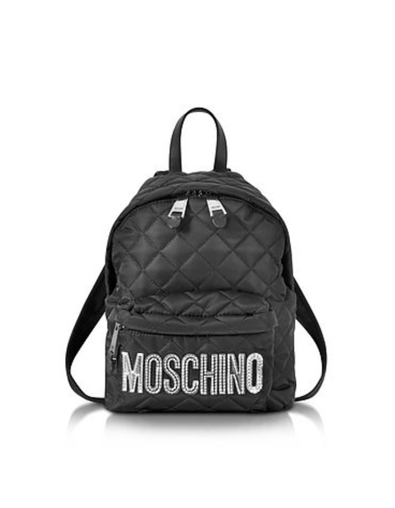 Moschino - Black Quilted Nylon Small Backpack w/Silver Laminated Logo