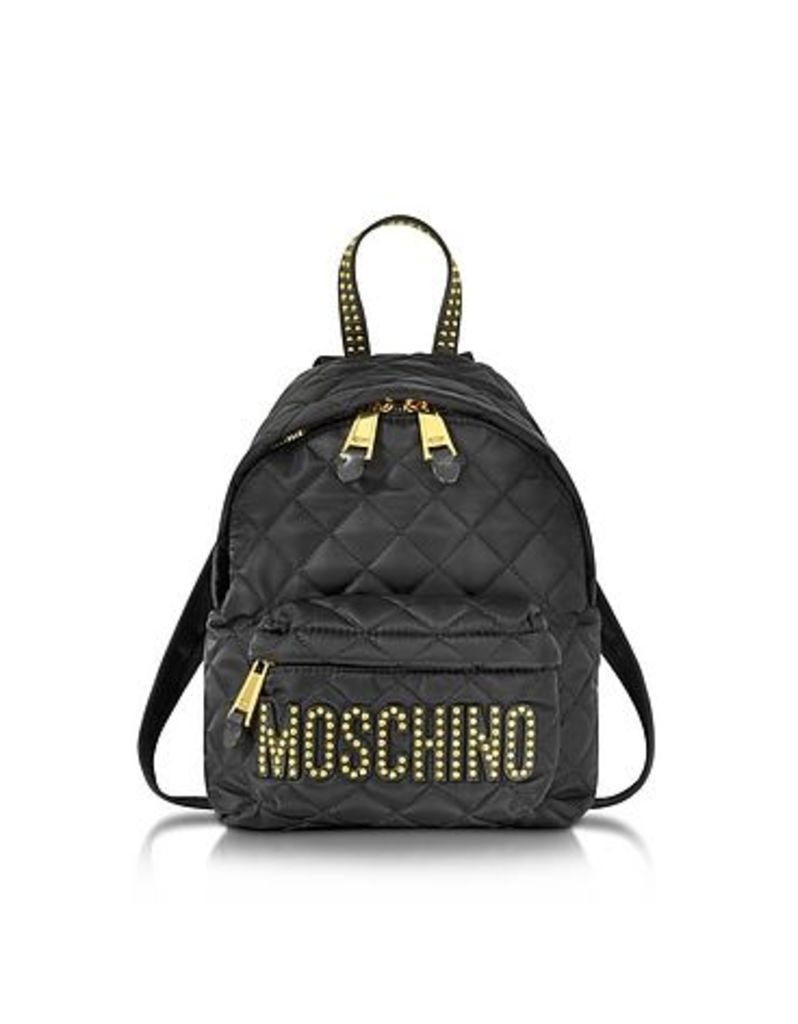 Moschino - Black Quilted Nylon Small Backpack w/Studs