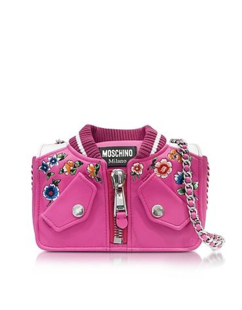 Moschino - Fuchsia & White Leather Jacket Shoulder Bag