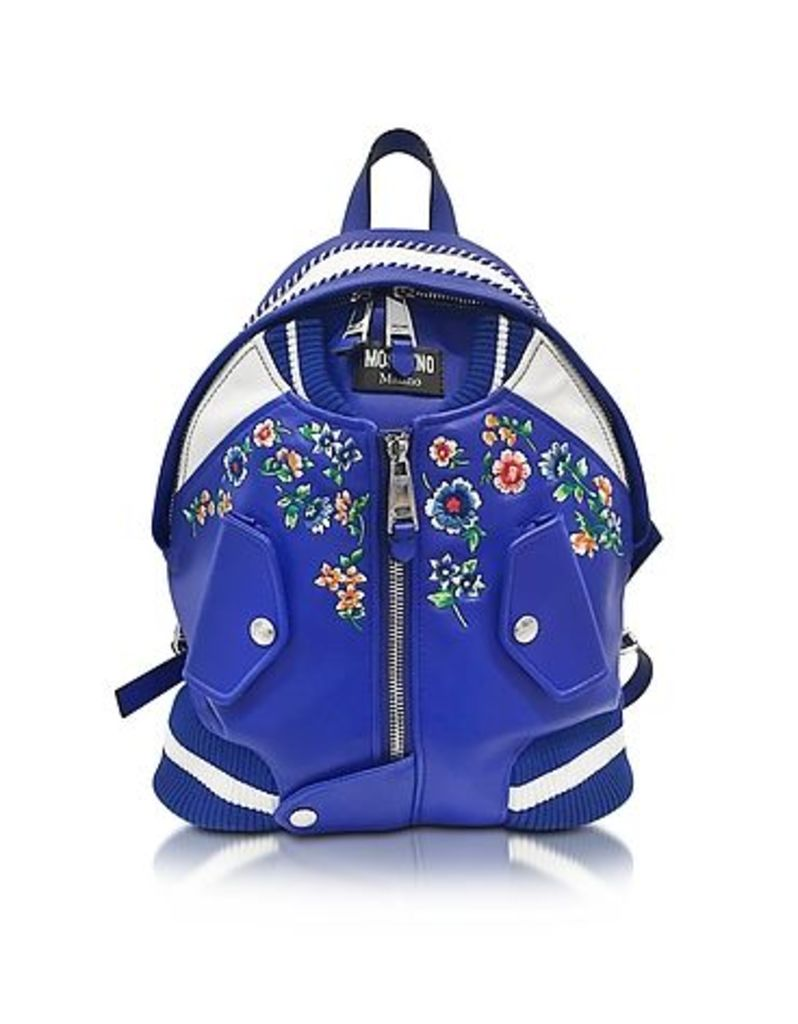 Moschino - Blue & White Leather Jacket Backpack