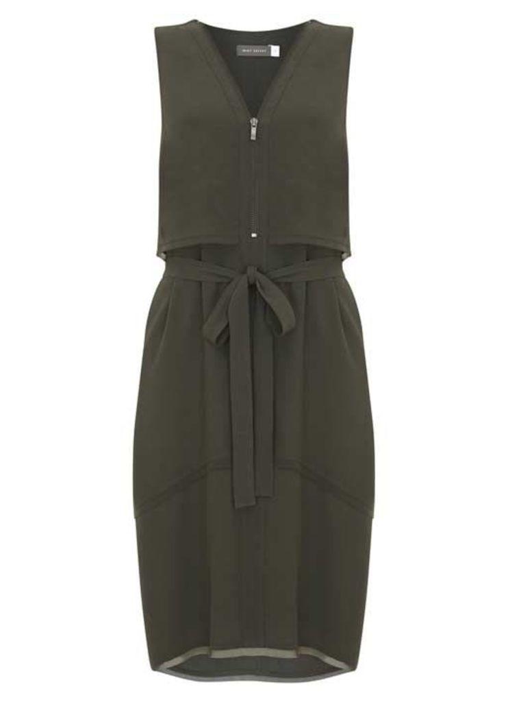 Khaki Belted Utility Dress