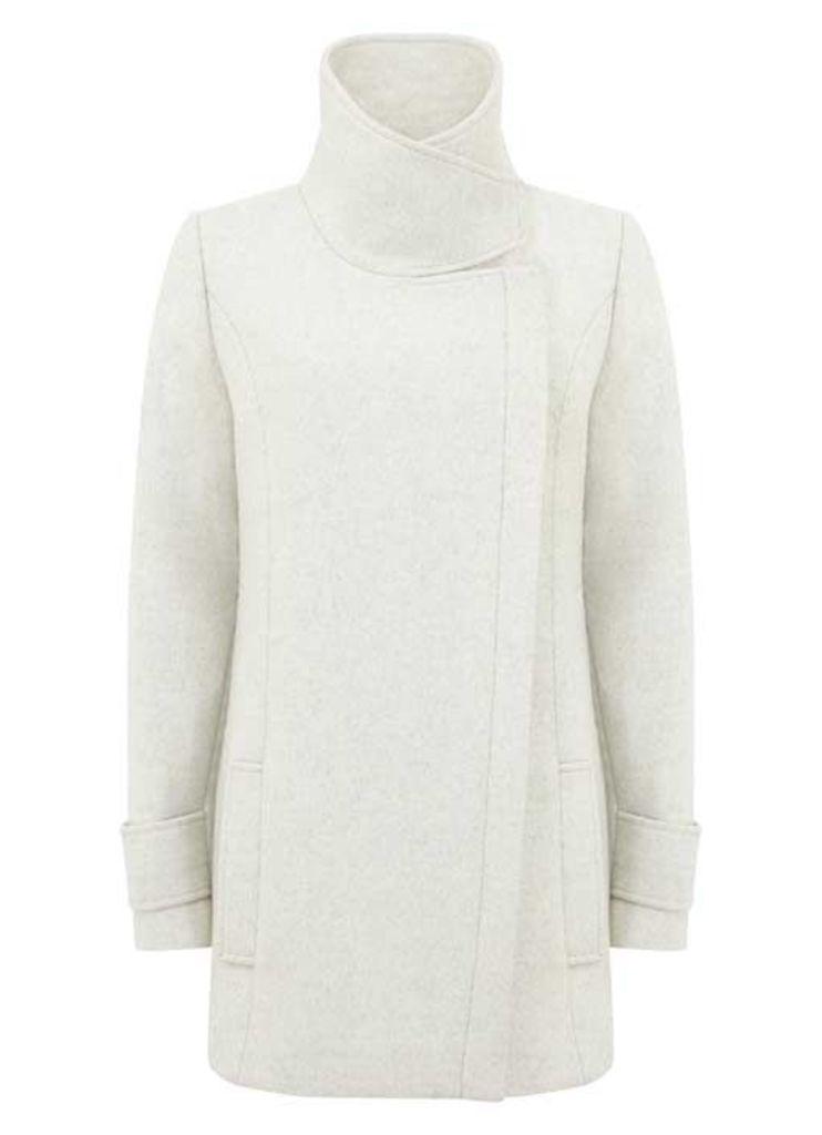 Textured Winter White Pea Coat