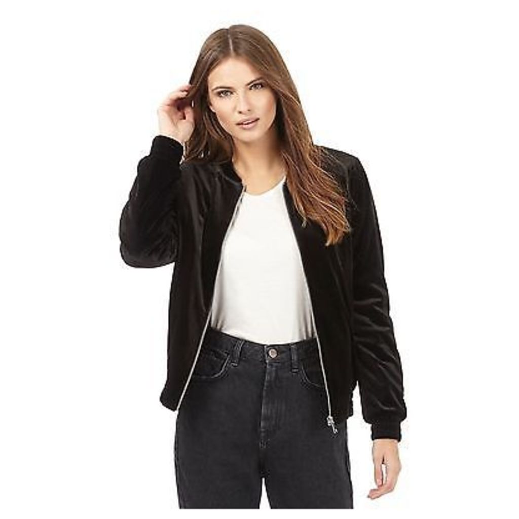 Red Herring Womens Black Velvet Bomber Jacket From Debenhams