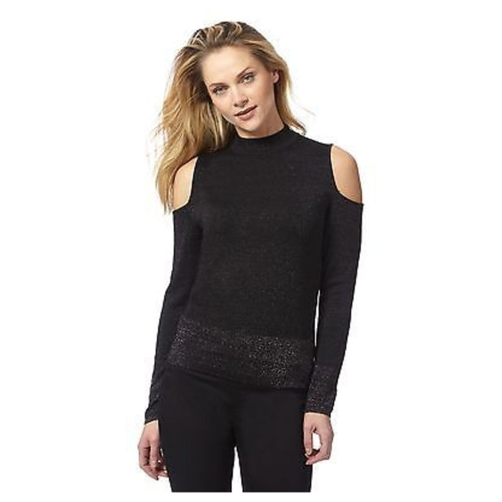 Principles By Ben De Lisi Womens Black Glitter Cold Shoulder Top From Debenhams
