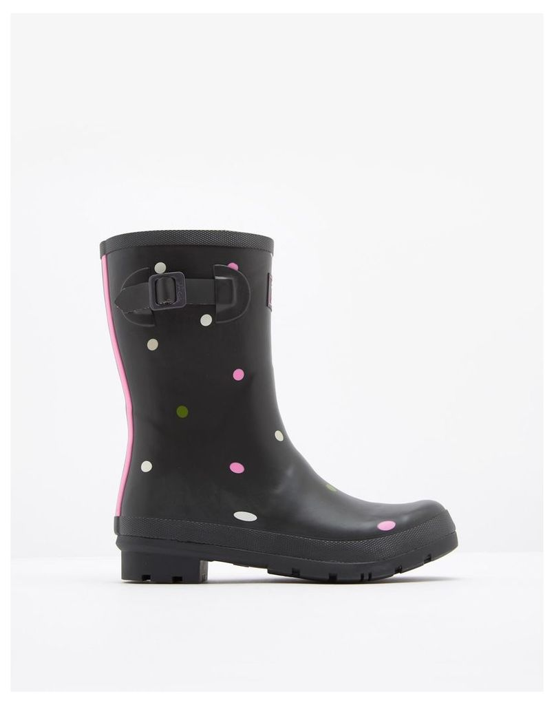 Grey Khaki Spot Molly Printed Mid-Height Wellies  Size Adult Size 6   Joules UK