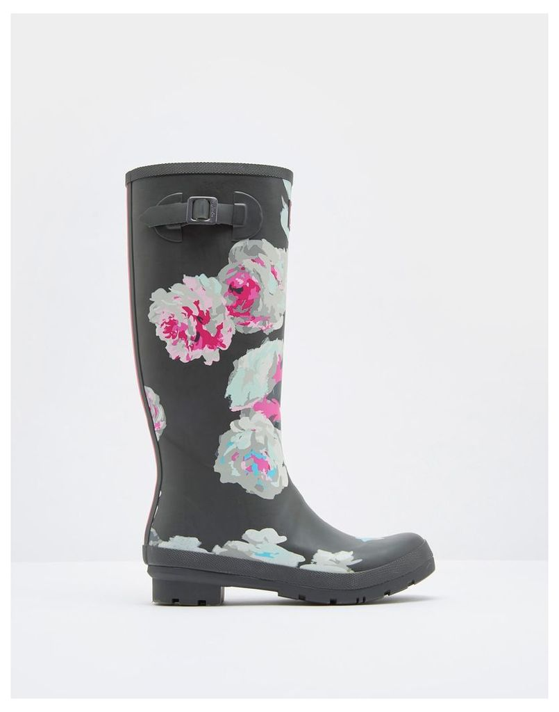Grey Beau Bloom Printed Wellies  Size Adult Size 5   Joules UK