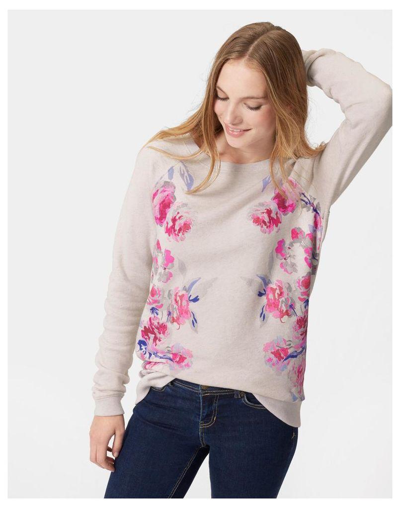 Cream Marl Beau Bloom Irene Printed Sweatshirt  Size 8   Joules UK