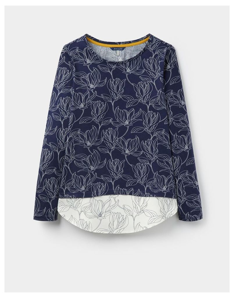 Navy Linear Floral Elysa Jersey top with woven hem panel  Size 14   Joules UK