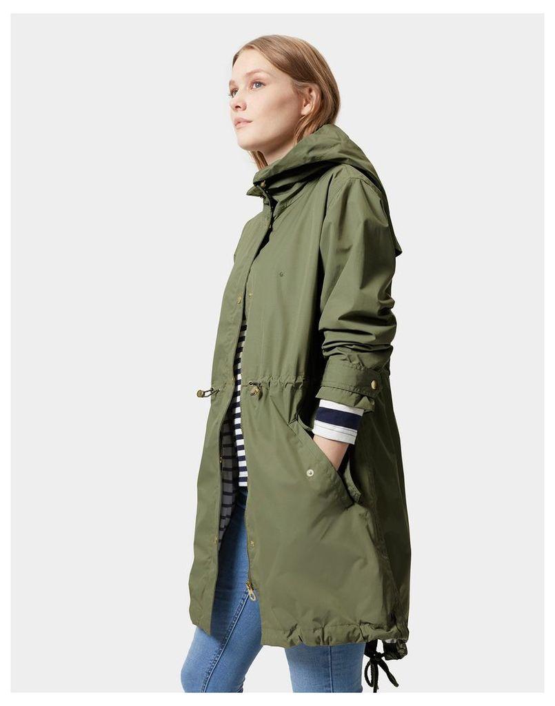 Soft Khaki Swithin Parka-Style Waterproof Jacket  Size 16   Joules UK
