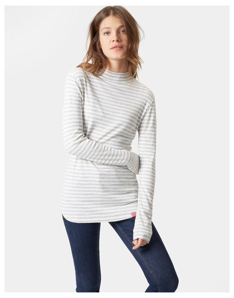 Grey Stripe Lola High neck jersey top  Size 20   Joules UK