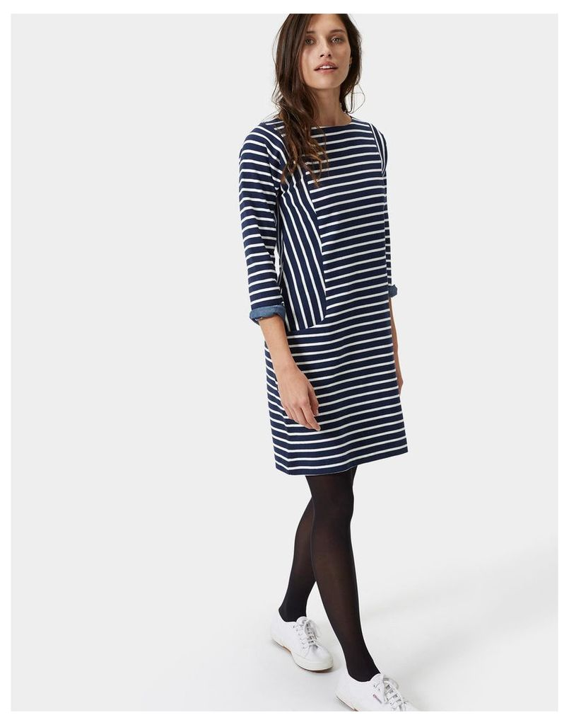 Hope French Navy Stripe Britanny Pocket Breton-Style Dress  Size 10   Joules UK