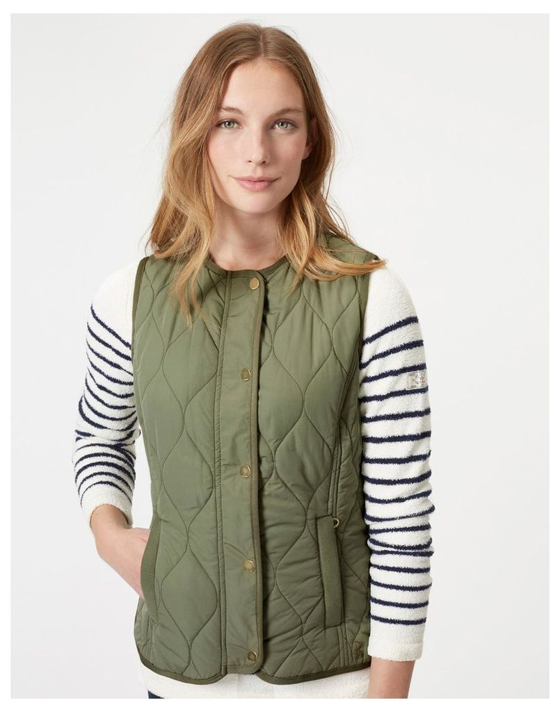Soft Khaki Jinty Collarless Quilted Gilet  Size 16   Joules UK