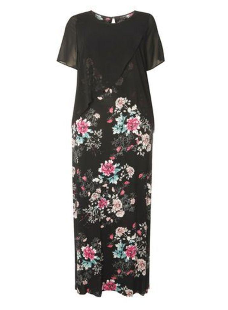 Black Floral Print Dress, Dark Multi