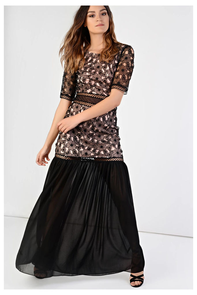 LOOK X GLAMOROUS Black And Nude Floral Dress