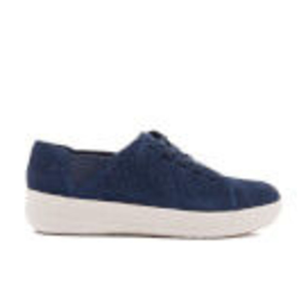 FitFlop Women's F-Sporty Perforated Suede Lace-Up Trainers - Mignight Navy