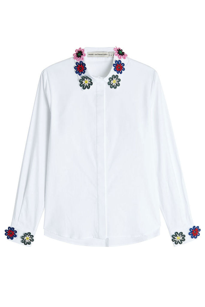 Mary Katrantzou Cotton Shirt with Floral Appliqué