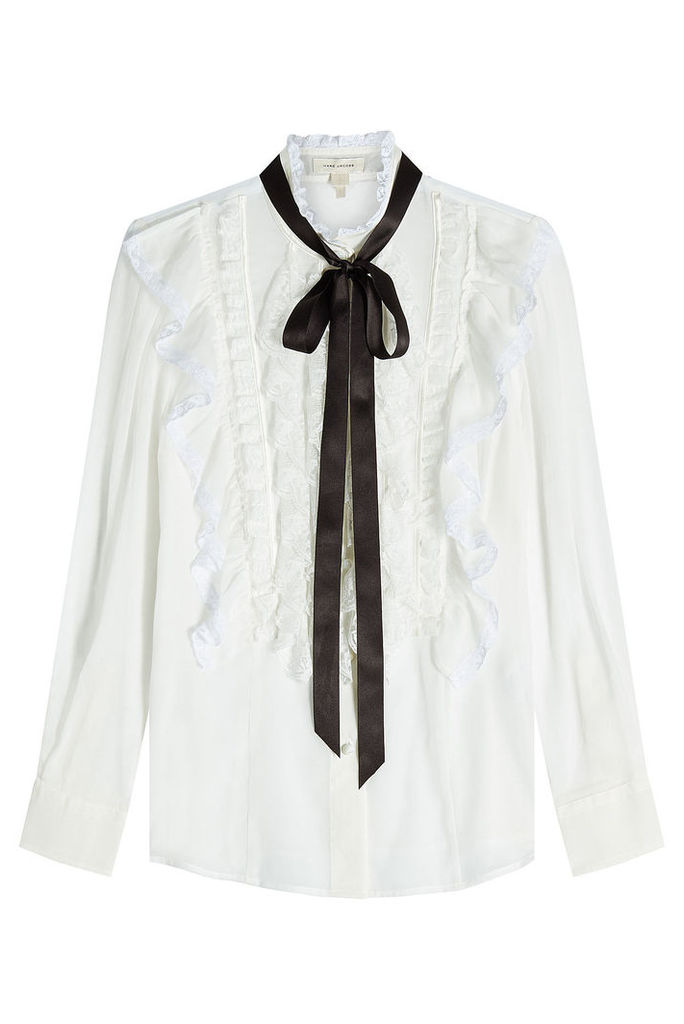 Marc Jacobs Cotton Ruffle Blouse with Tie