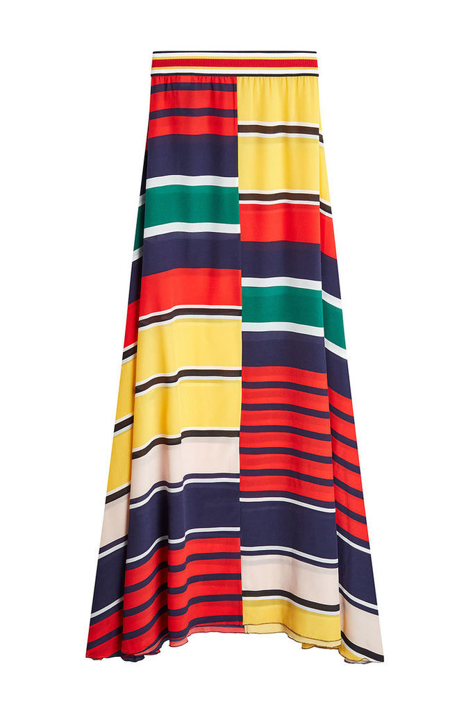 Hilfiger Collection Striped Silk Maxi Skirt