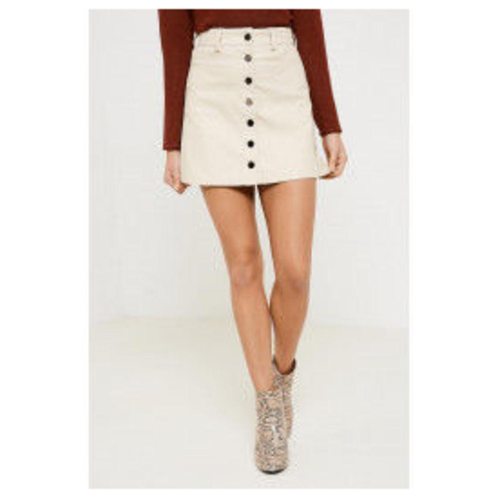 Brand Attic A-Line Button PU Skirt - Beige