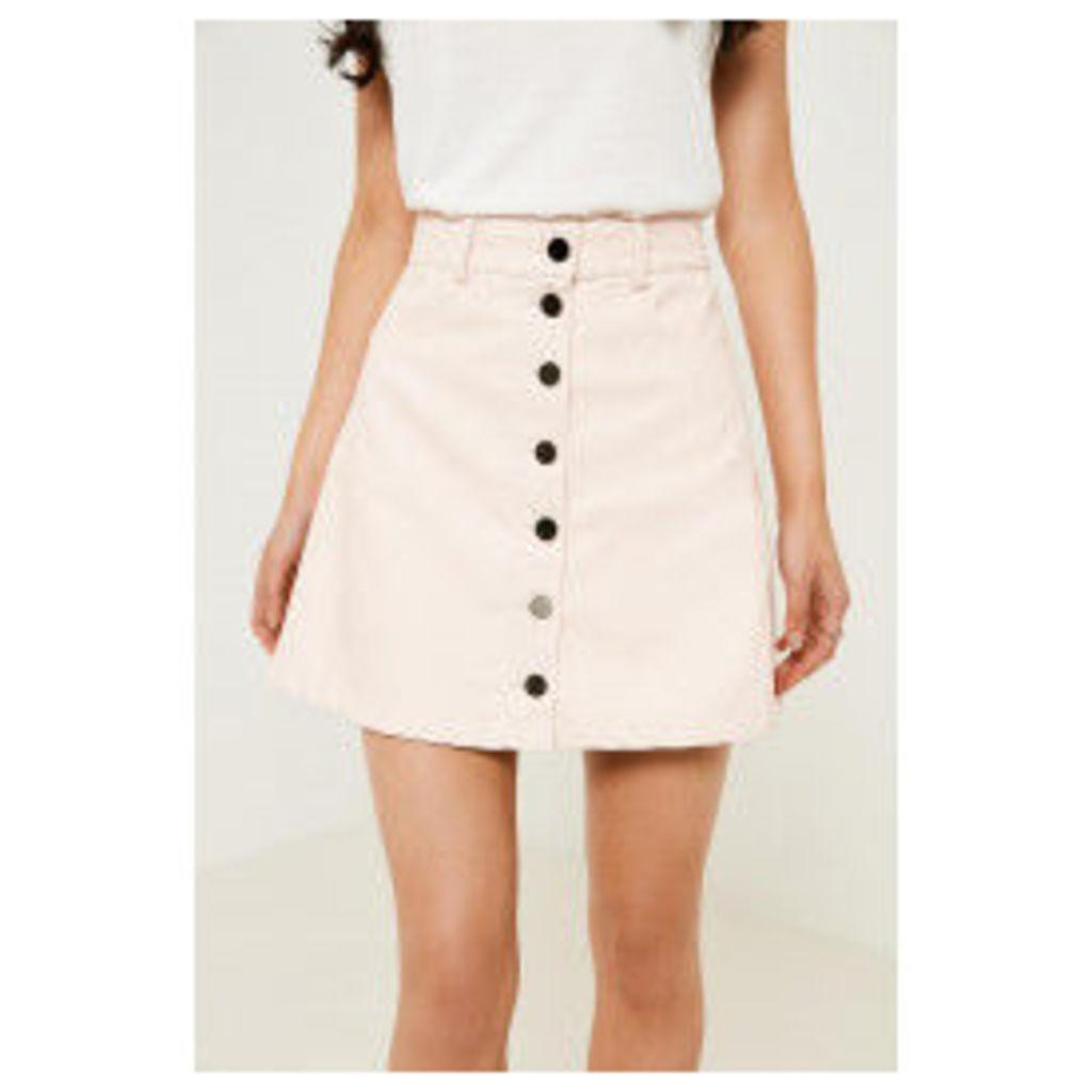 Brand Attic A-Line Button PU Skirt - Pink