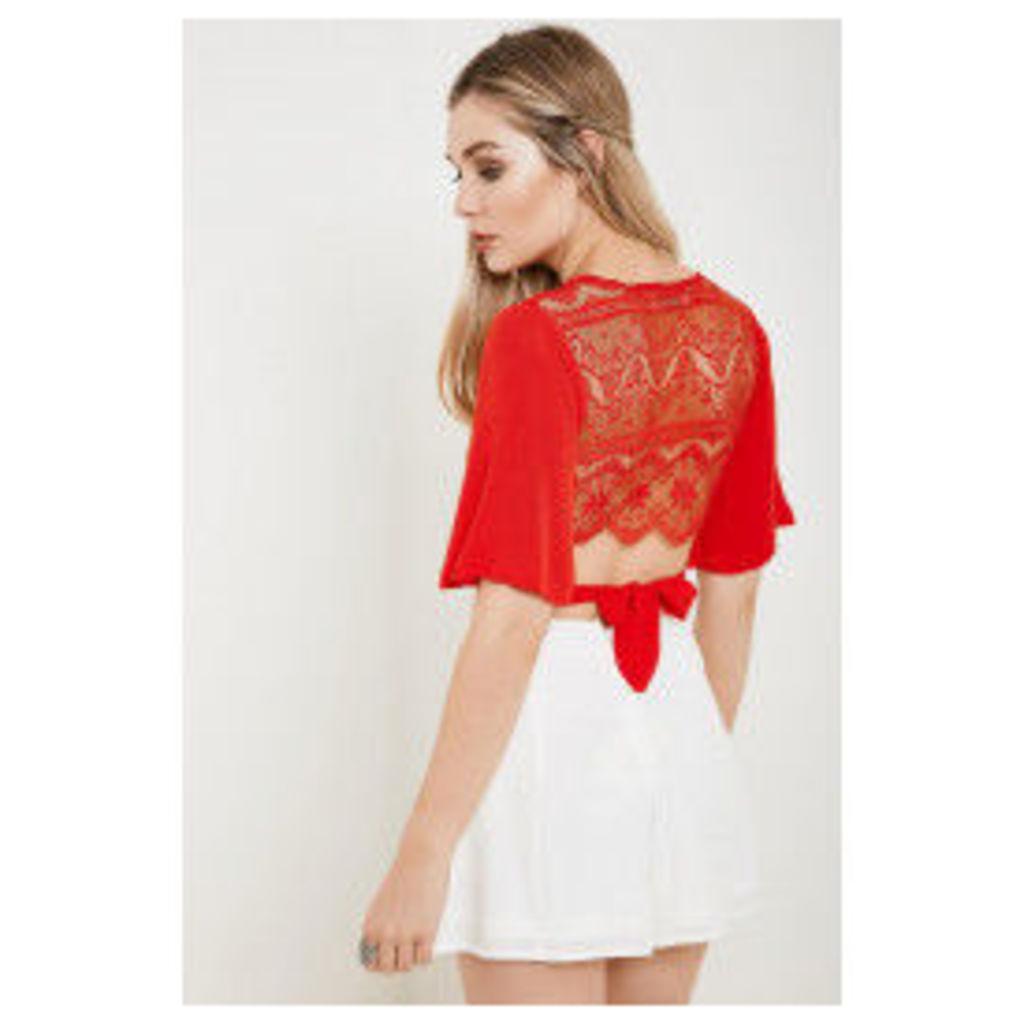 Brand Attic Bell Sleeve Tie Crop Top