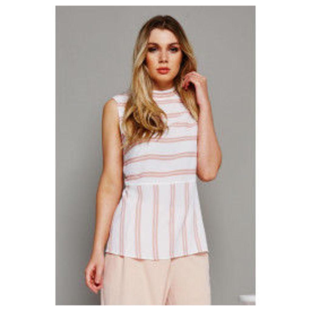 Fashion Union Longline Striped Vest Top - Off-White