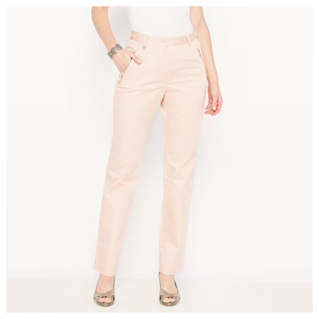 Stretch Cotton Satin Travel Trousers