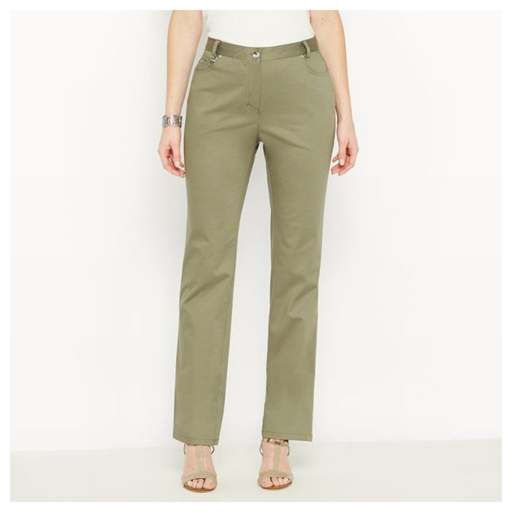 Stretch Cotton Satin Trousers