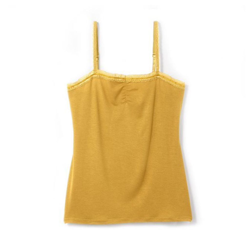 Cotton and Modal Top with Shoestring Straps