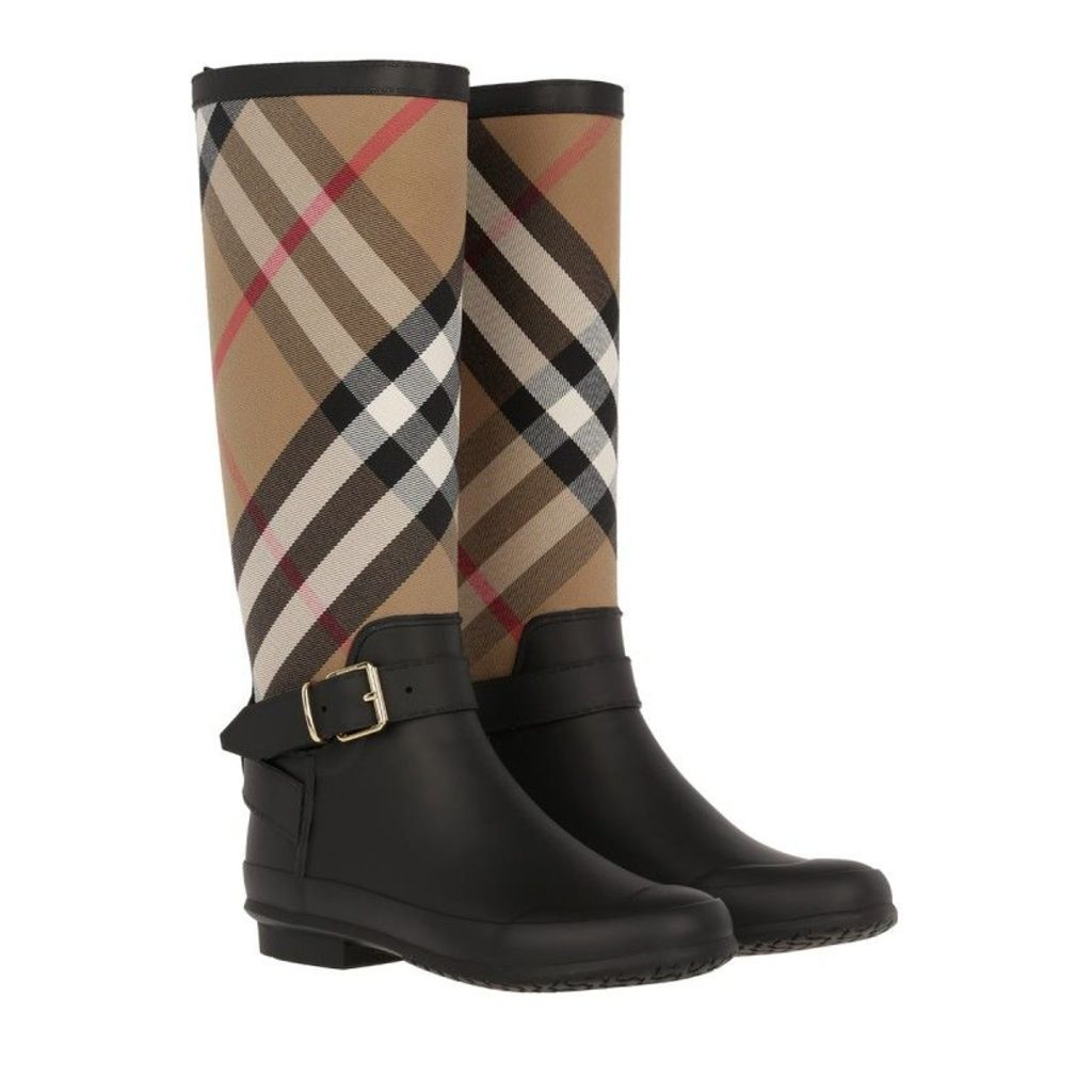 Burberry Boots & Booties - Simeon Belted Rain Boots Housecheck Black - in beige, black - Boots & Booties for ladies