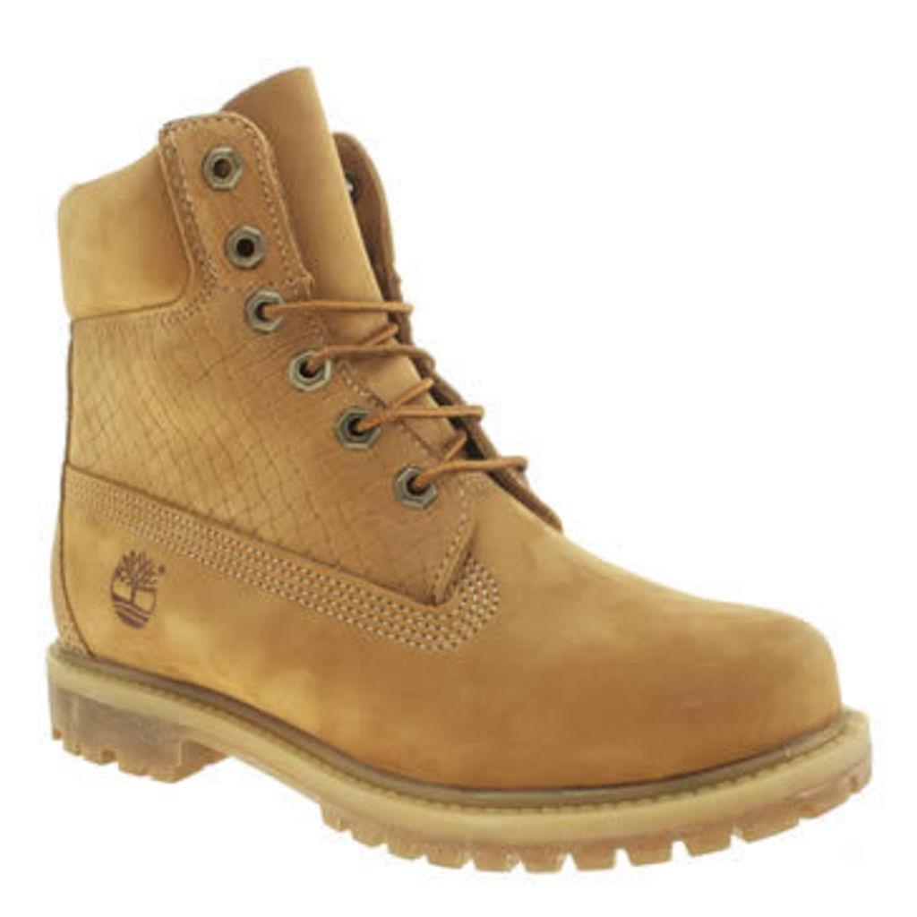 Timberland Natural 6 Inch Premium Emboss Womens Boots