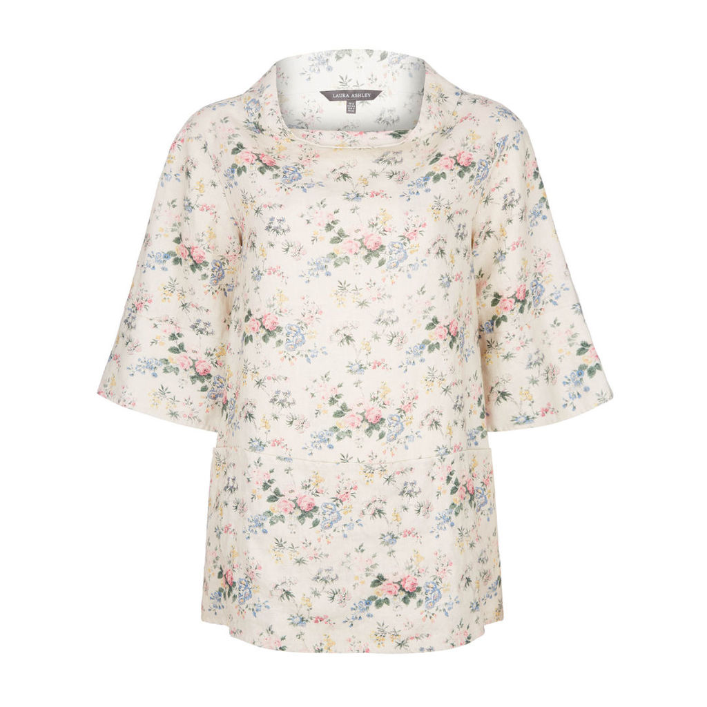 Faded Vintage Floral Pocketed Tunic