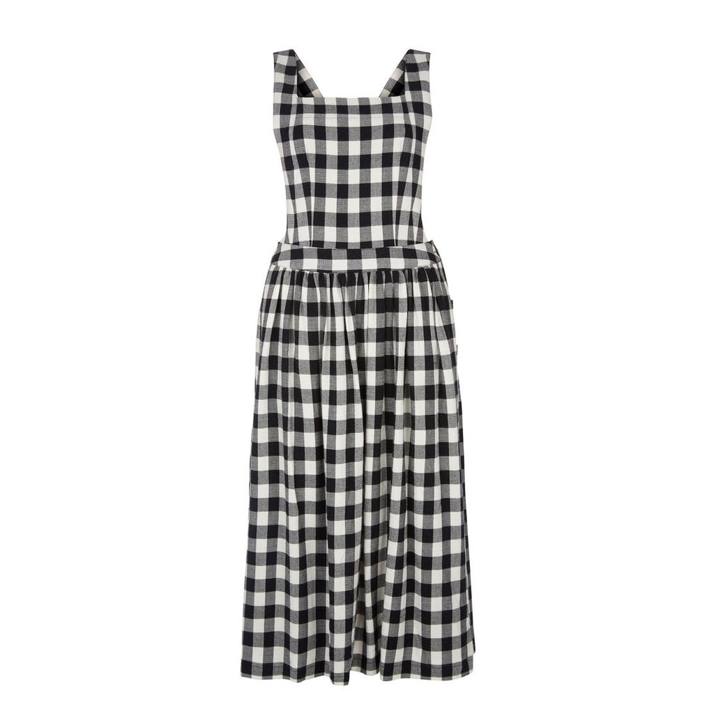 Side Button Gingham Pinafore Dress