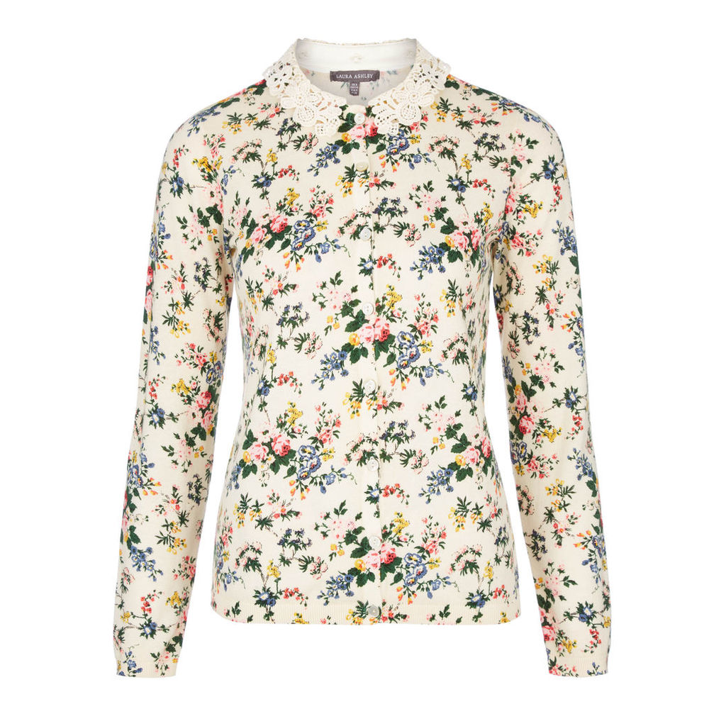 Crew Neck Vintage Floral Cardigan with Lace Collar