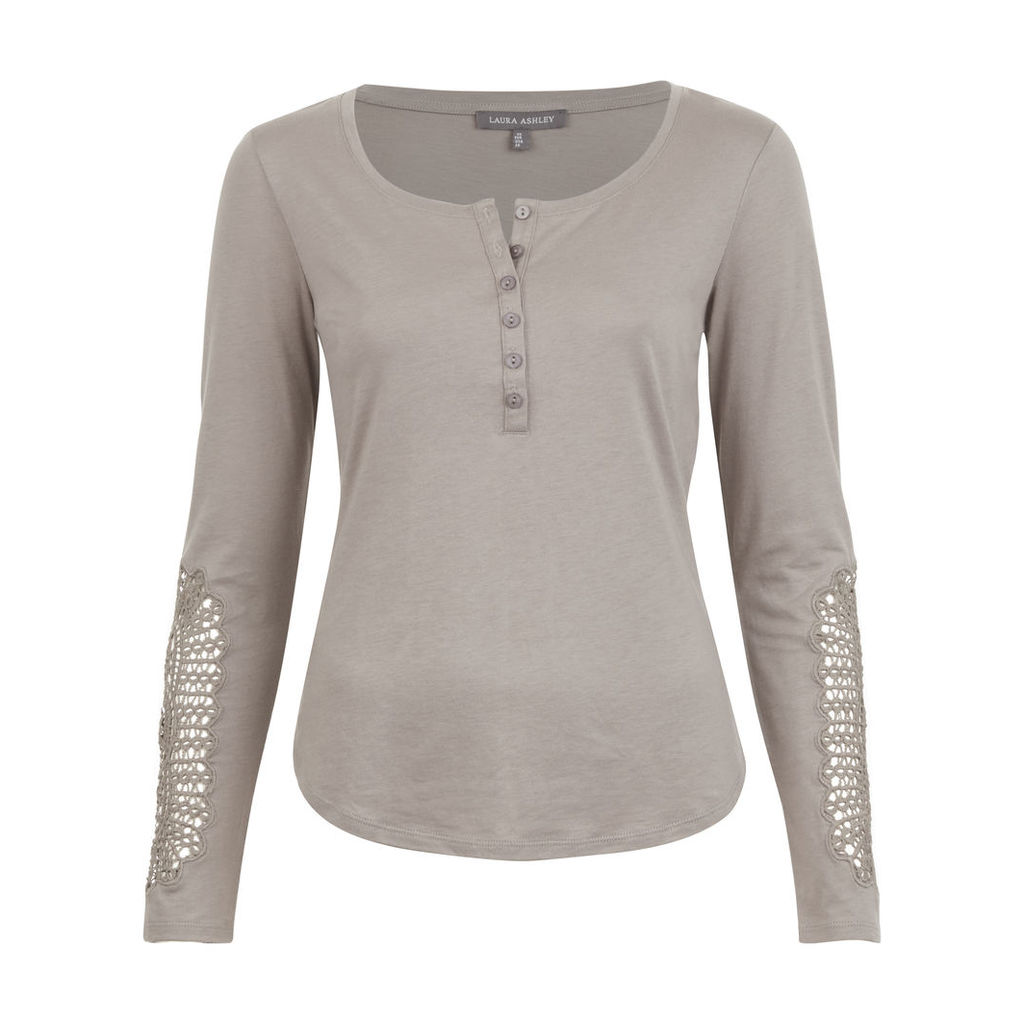 Henley Lace Sleeve Top
