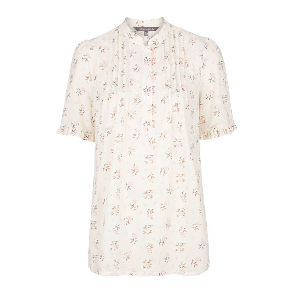 Delicate Ditsy Ruffle Short Sleeve Cotton Blouse