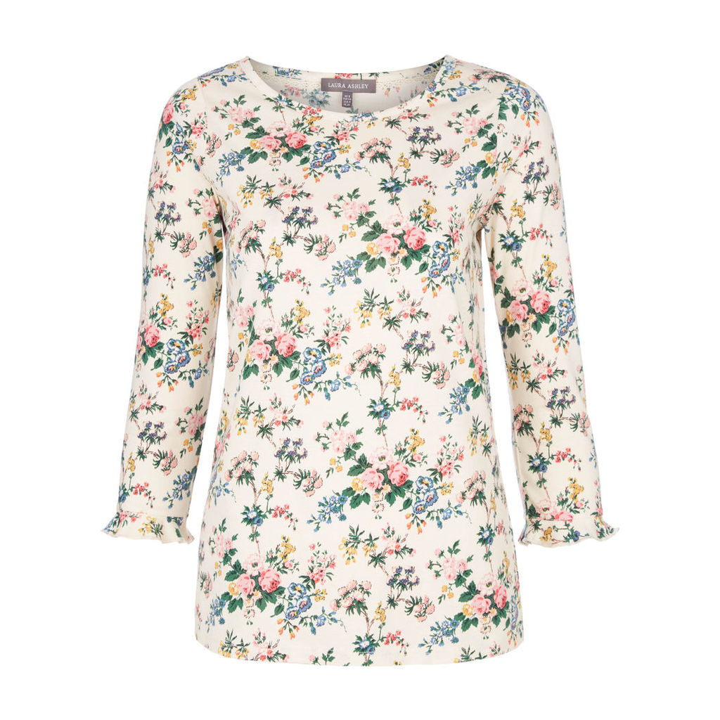 Frill Cuff Vintage Floral Top