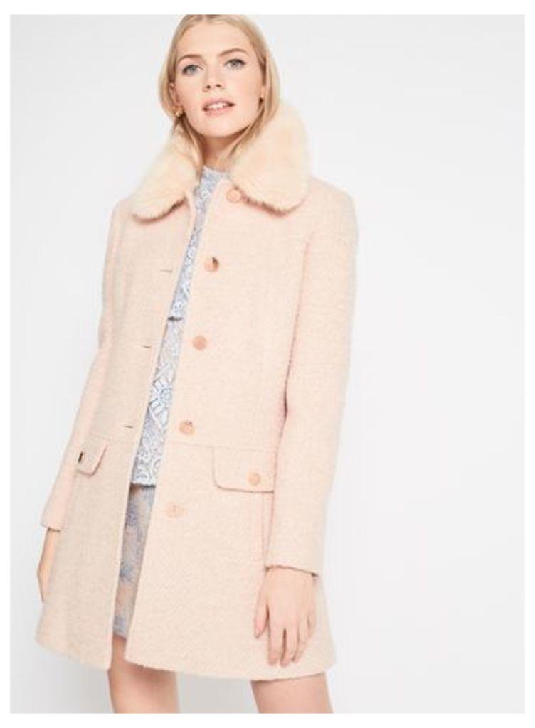 Womens Blush Faux Fur Collar Coat, Powder Blush