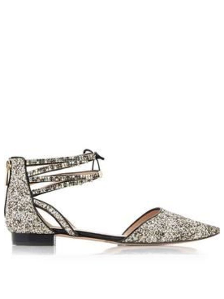 Lucy Choi London Glinda Glitter Ankle Strap Flats - Gold