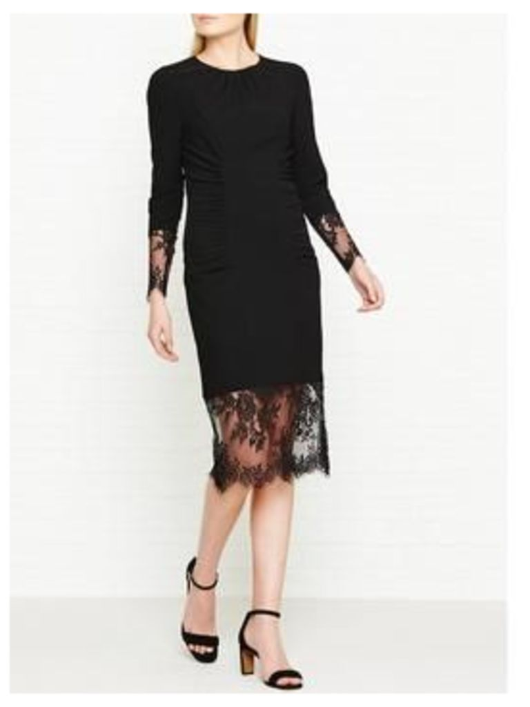 Whistles Izzy Lace And Crepe Dress - Black