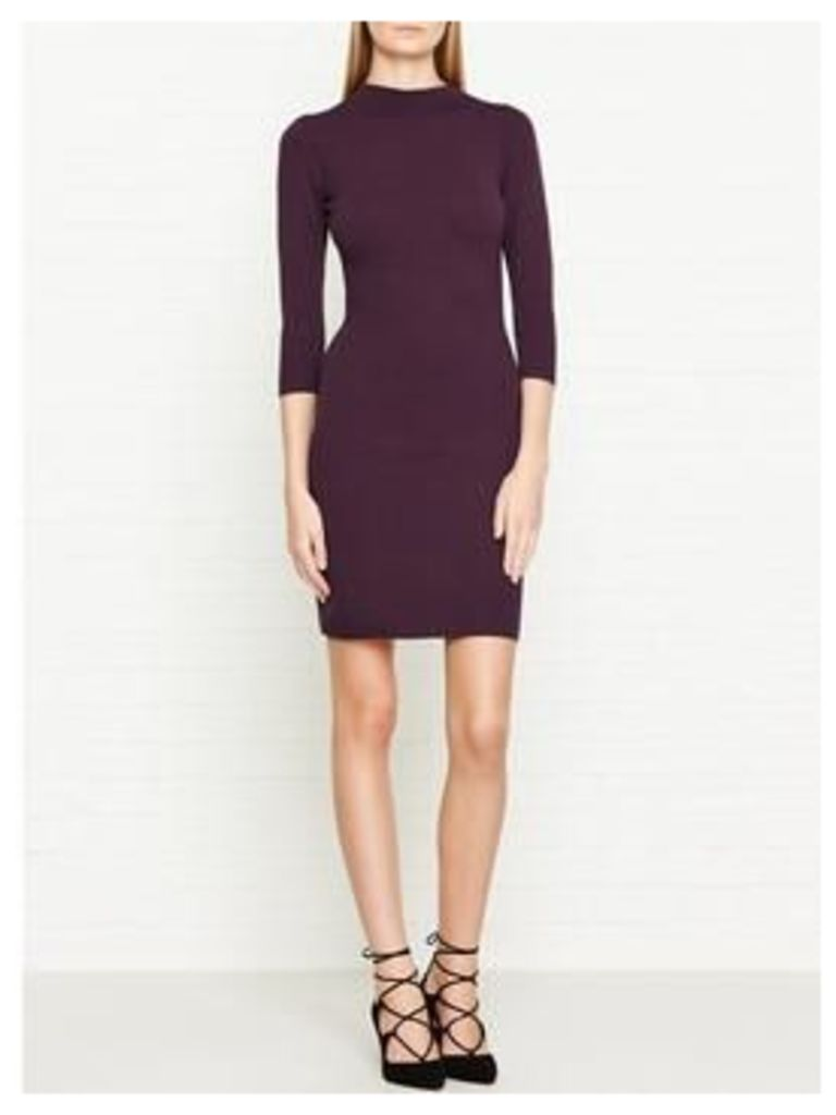 Reiss Rita Knitted Long Sleeve High Neck Fit &Amp; Flare Dress - Berry