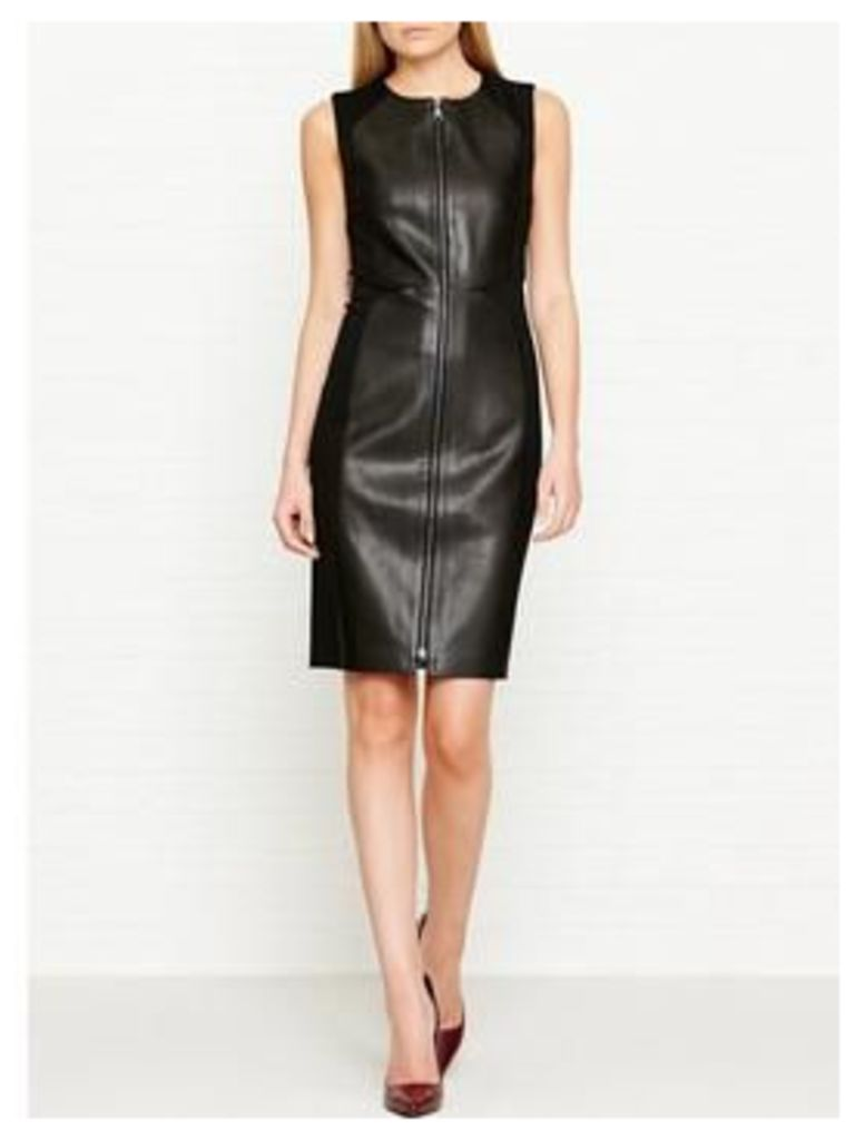 Karl Lagerfeld Fitted Leather &Amp; Punto Dress - Black