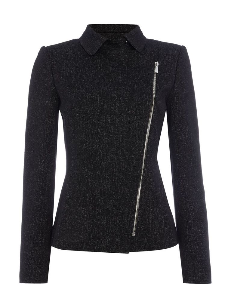 Episode Long sleeve jacket with asymetric zip, Black