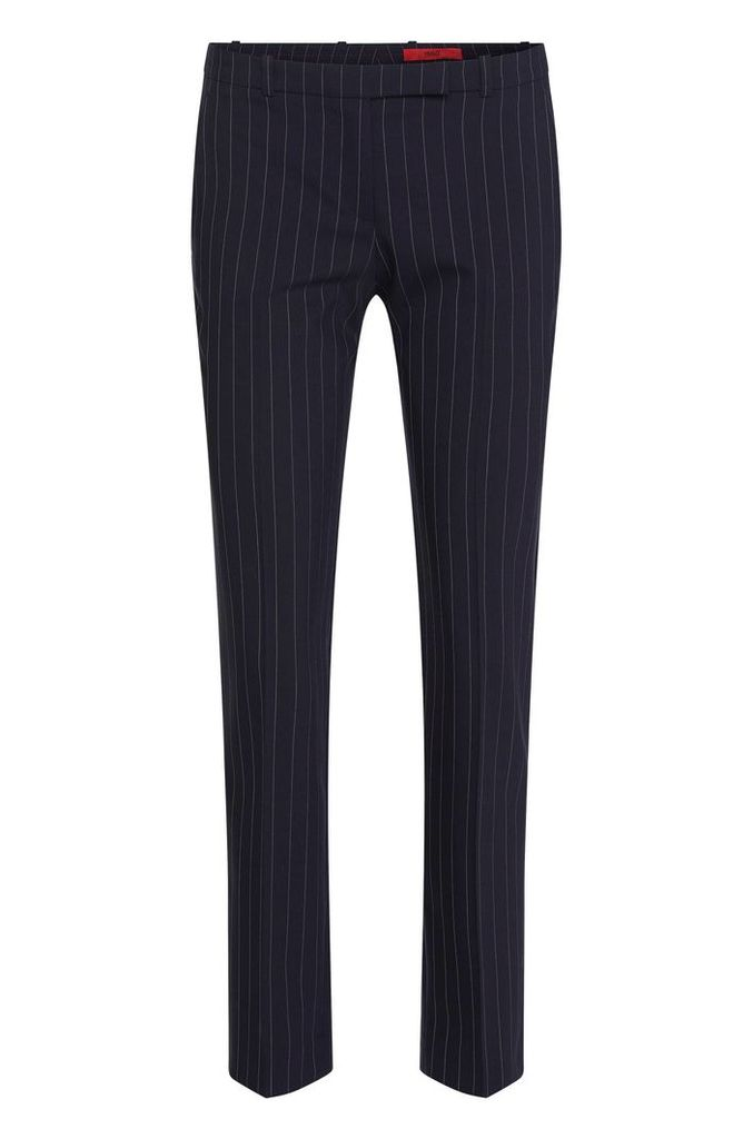 Finely striped slim-fit trousers in stretch new wool: `Harile-3`