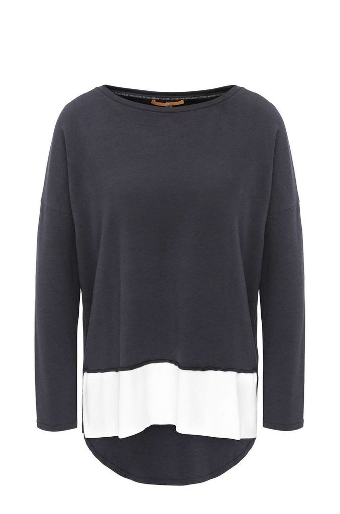 Oversized-fit sweatshirt in stretchy viscose blend with cotton: `Tersweat`