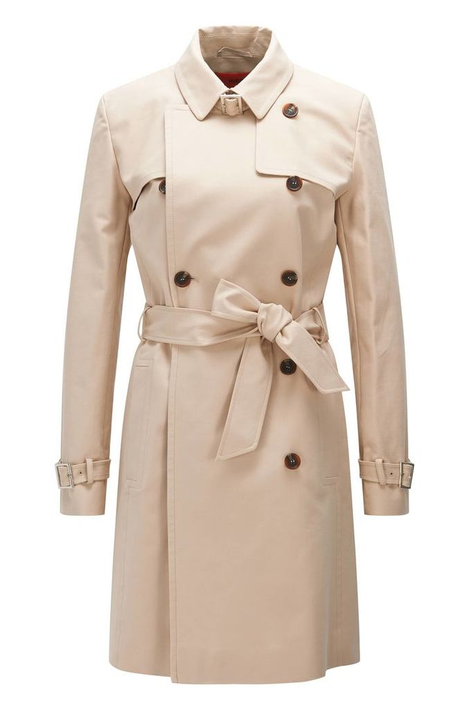 Regular-fit trench coat in stretch cotton: `Makari-1`
